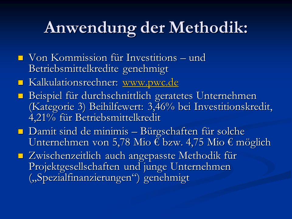Anwendung der Methodik: