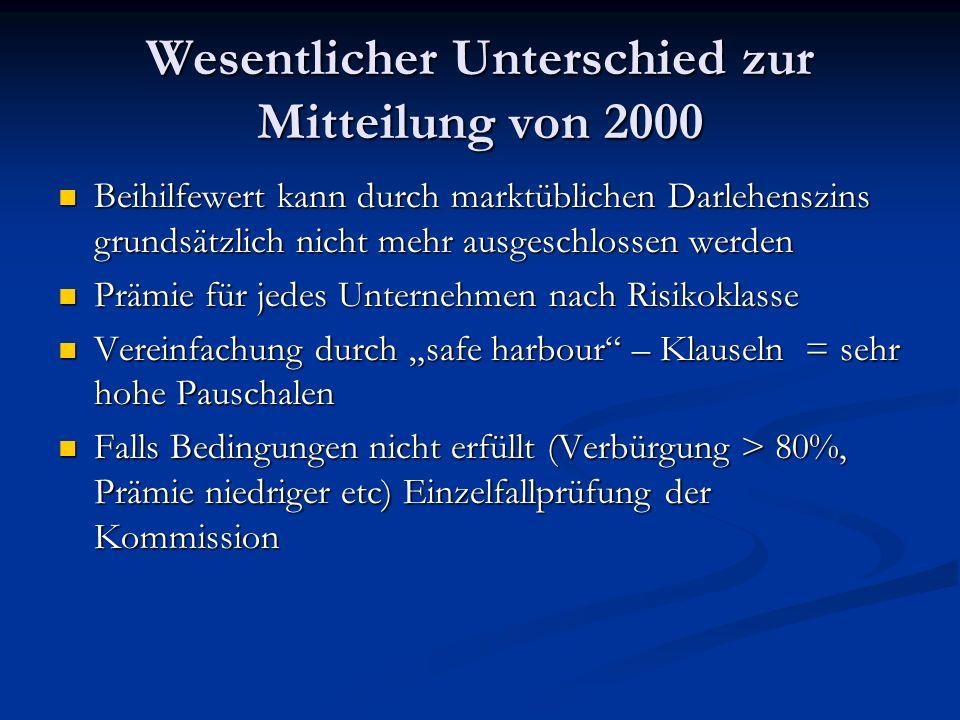Wesentlicher Unterschied zur Mitteilung von 2000