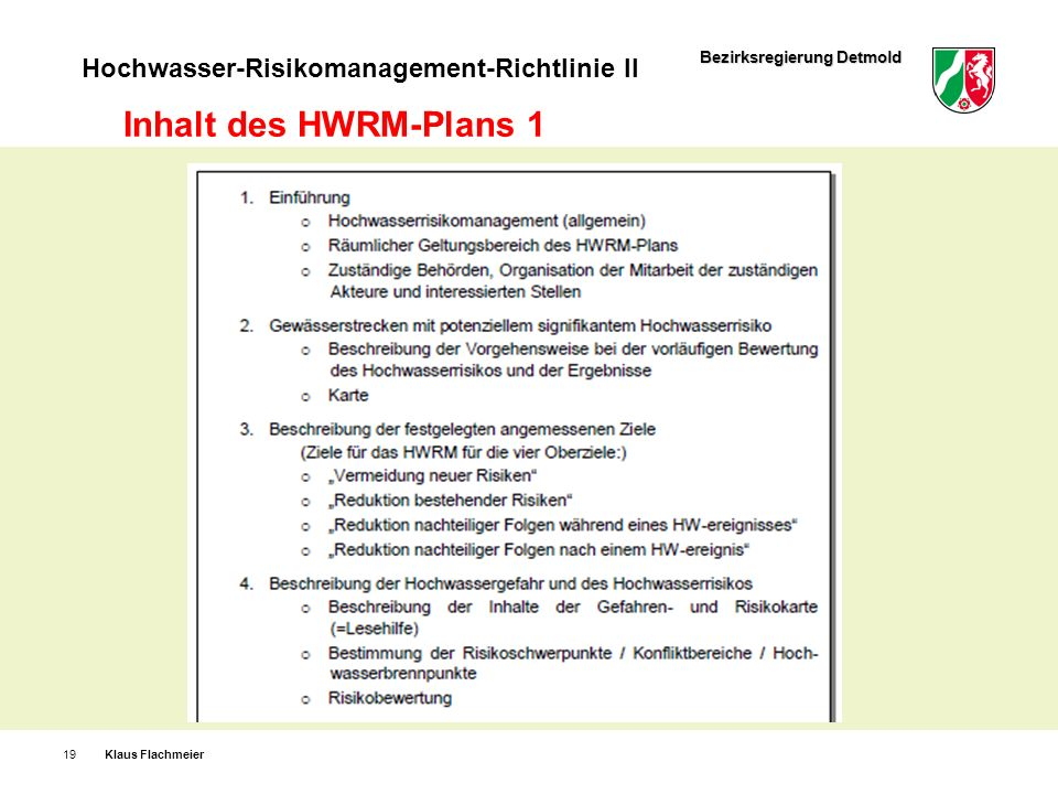Inhalt des HWRM-Plans 1 Klaus Flachmeier