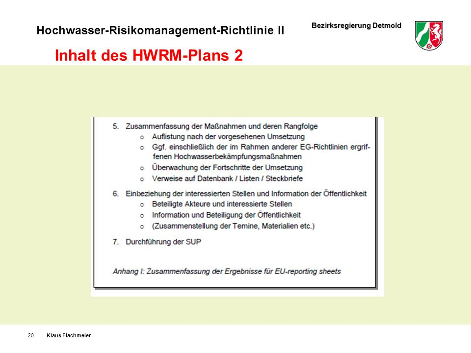 Inhalt des HWRM-Plans 2 Klaus Flachmeier