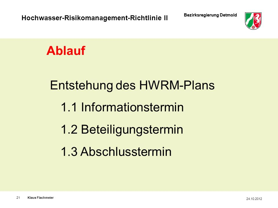 Entstehung des HWRM-Plans 1.1 Informationstermin