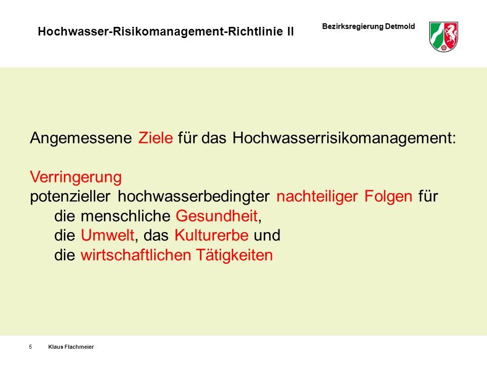 Angemessene Ziele für das Hochwasserrisikomanagement: Verringerung