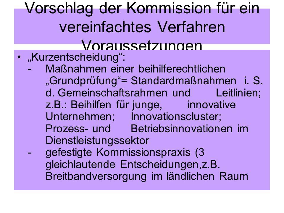 Vorschlag der Kommission für ein vereinfachtes Verfahren Voraussetzungen