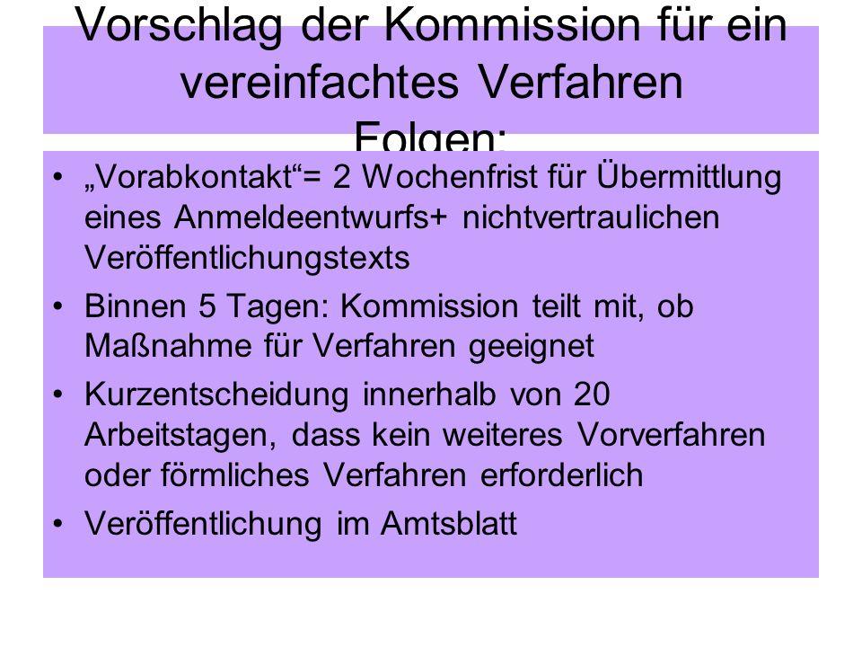 Vorschlag der Kommission für ein vereinfachtes Verfahren Folgen: