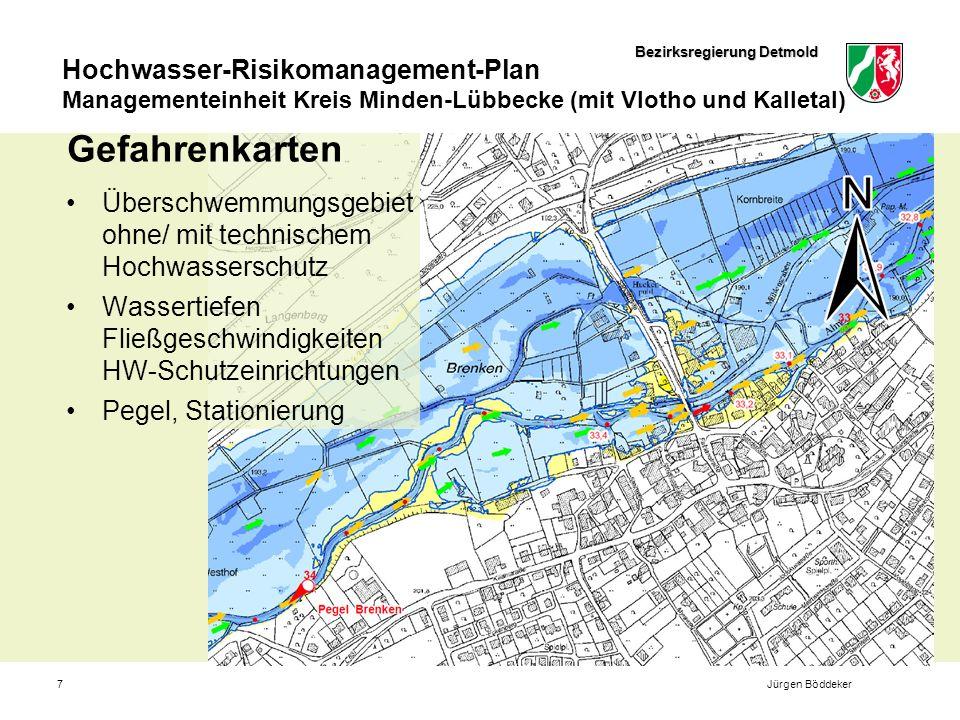 Gefahrenkarten Überschwemmungsgebiet ohne/ mit technischem Hochwasserschutz. Wassertiefen Fließgeschwindigkeiten HW-Schutzeinrichtungen.