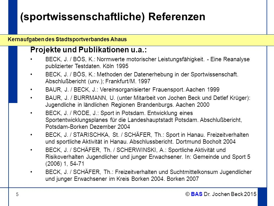 (sportwissenschaftliche) Referenzen
