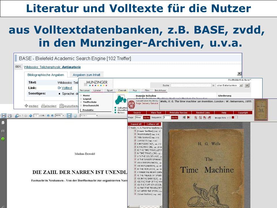 Literatur und Volltexte für die Nutzer