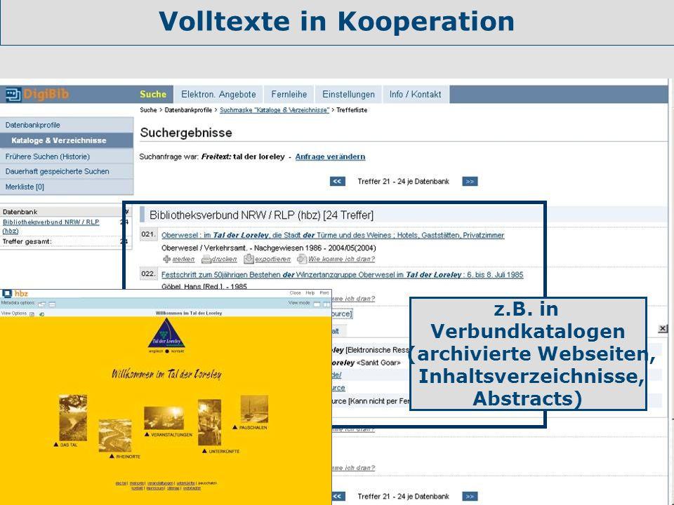 Volltexte in Kooperation (archivierte Webseiten, Inhaltsverzeichnisse,
