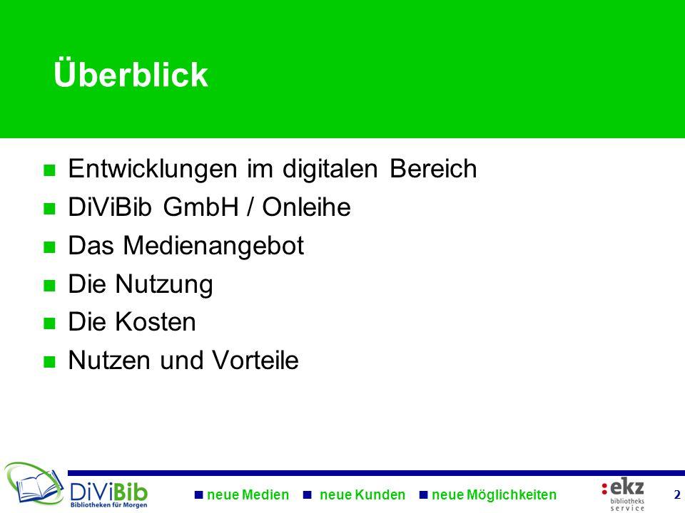 Überblick Entwicklungen im digitalen Bereich DiViBib GmbH / Onleihe