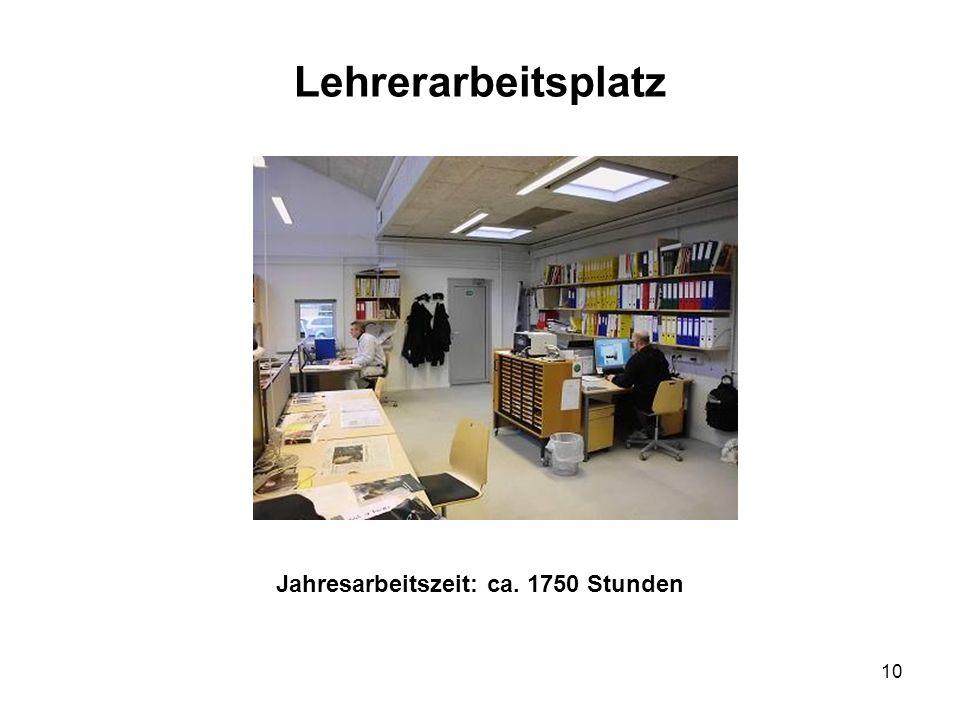 Lehrerarbeitsplatz Jahresarbeitszeit: ca. 1750 Stunden