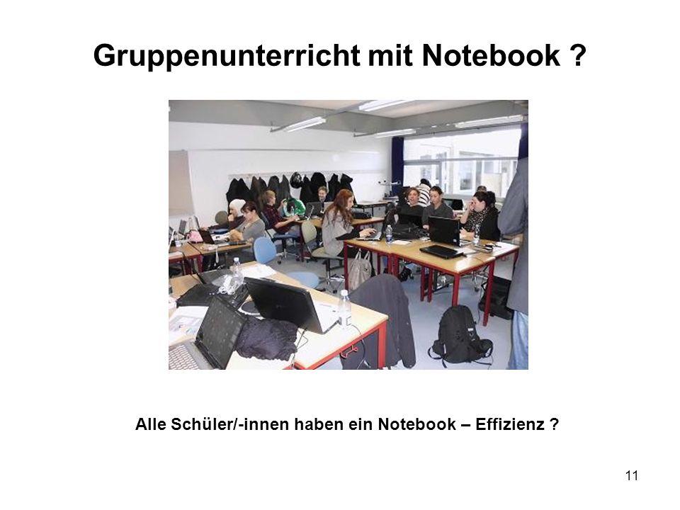 Gruppenunterricht mit Notebook