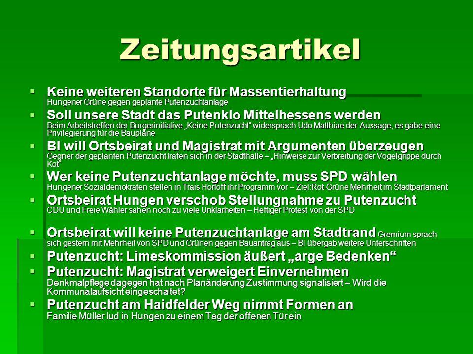 Zeitungsartikel Keine weiteren Standorte für Massentierhaltung Hungener Grüne gegen geplante Putenzuchtanlage.