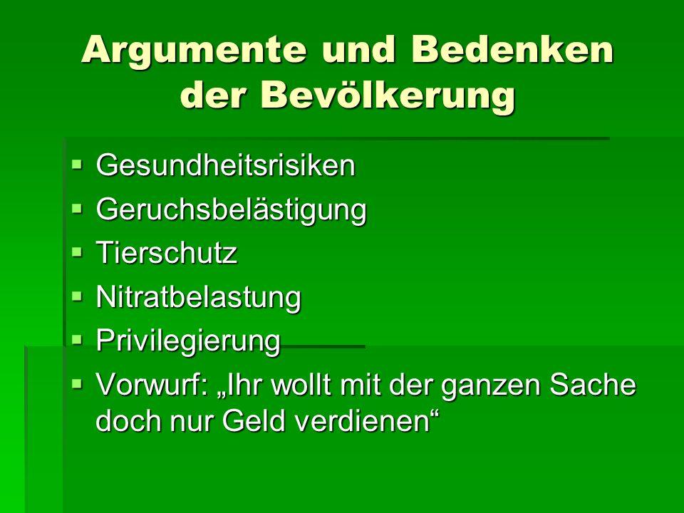 Argumente und Bedenken der Bevölkerung