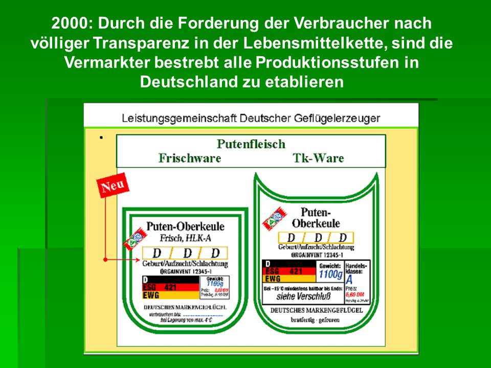 2000: Durch die Forderung der Verbraucher nach völliger Transparenz in der Lebensmittelkette, sind die Vermarkter bestrebt alle Produktionsstufen in Deutschland zu etablieren