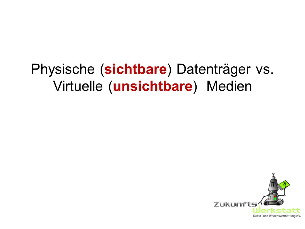 Physische (sichtbare) Datenträger vs. Virtuelle (unsichtbare) Medien