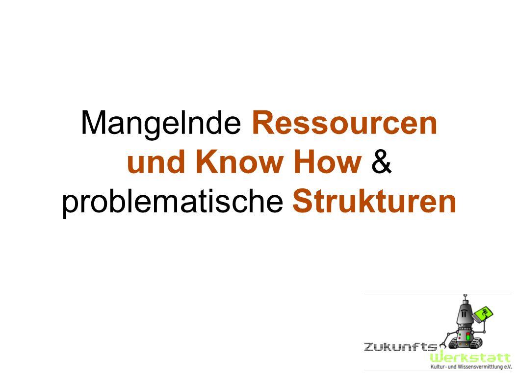 Mangelnde Ressourcen und Know How & problematische Strukturen