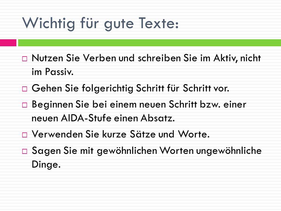 Wichtig für gute Texte: