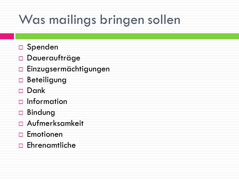 Was mailings bringen sollen
