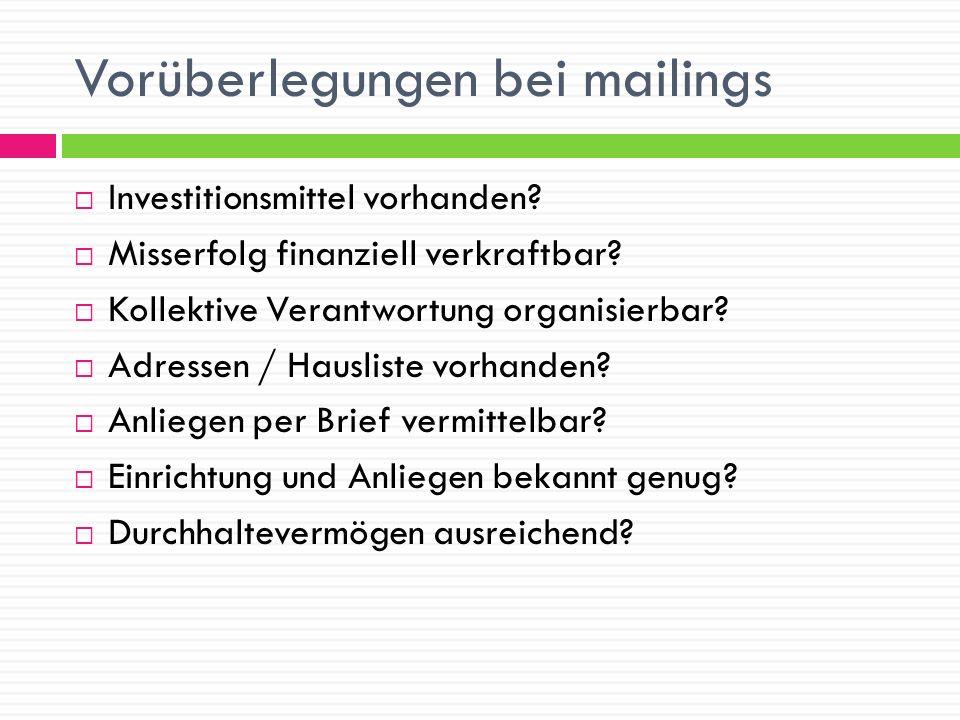 Vorüberlegungen bei mailings