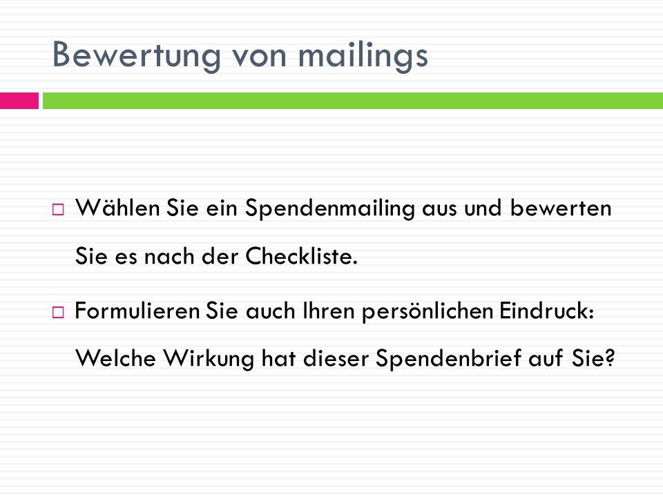 Bewertung von mailings
