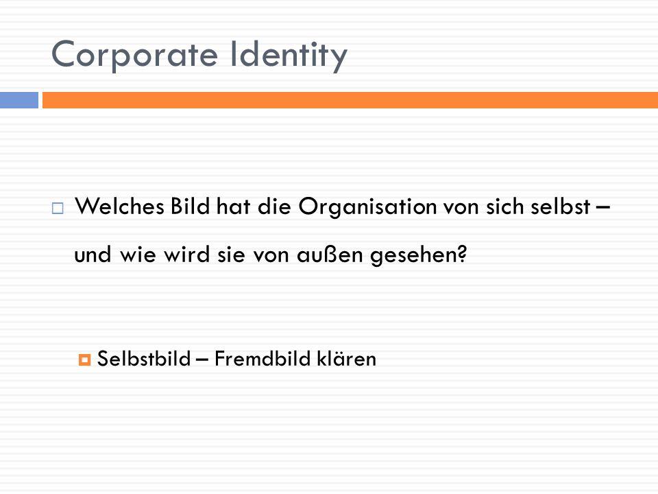 Corporate Identity Welches Bild hat die Organisation von sich selbst – und wie wird sie von außen gesehen
