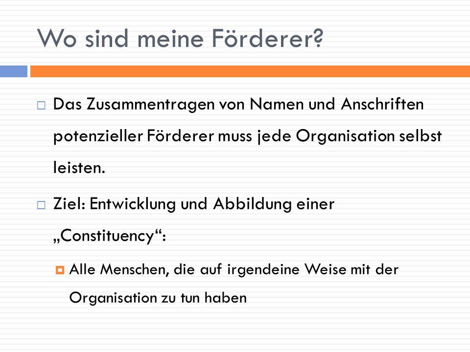 Wo sind meine Förderer Das Zusammentragen von Namen und Anschriften potenzieller Förderer muss jede Organisation selbst leisten.
