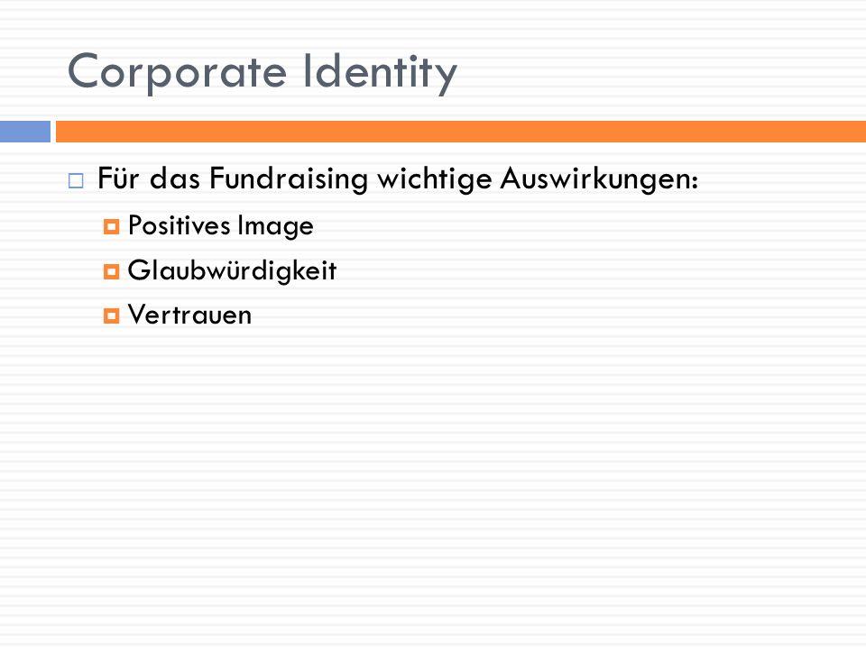 Corporate Identity Für das Fundraising wichtige Auswirkungen: