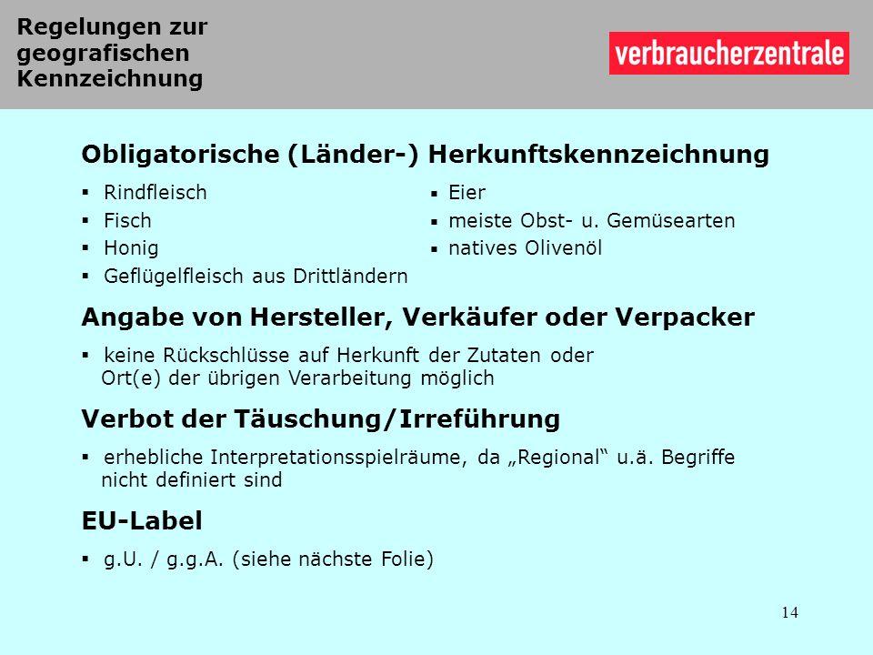 Obligatorische (Länder-) Herkunftskennzeichnung