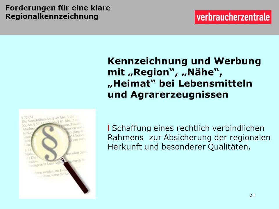Forderungen für eine klare Regionalkennzeichnung