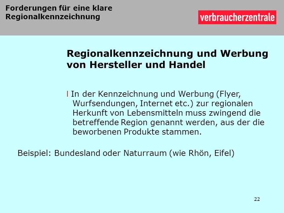 Regionalkennzeichnung und Werbung von Hersteller und Handel
