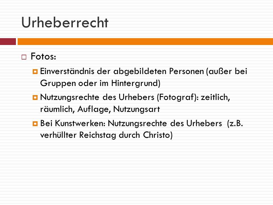 Urheberrecht Fotos: Einverständnis der abgebildeten Personen (außer bei Gruppen oder im Hintergrund)