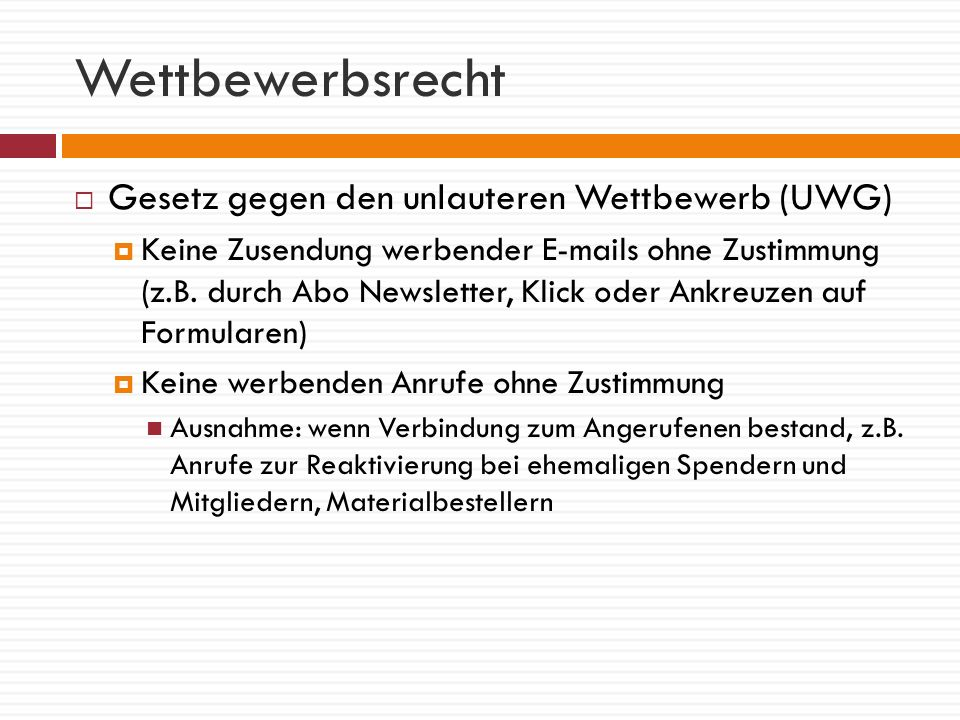 Wettbewerbsrecht Gesetz gegen den unlauteren Wettbewerb (UWG)