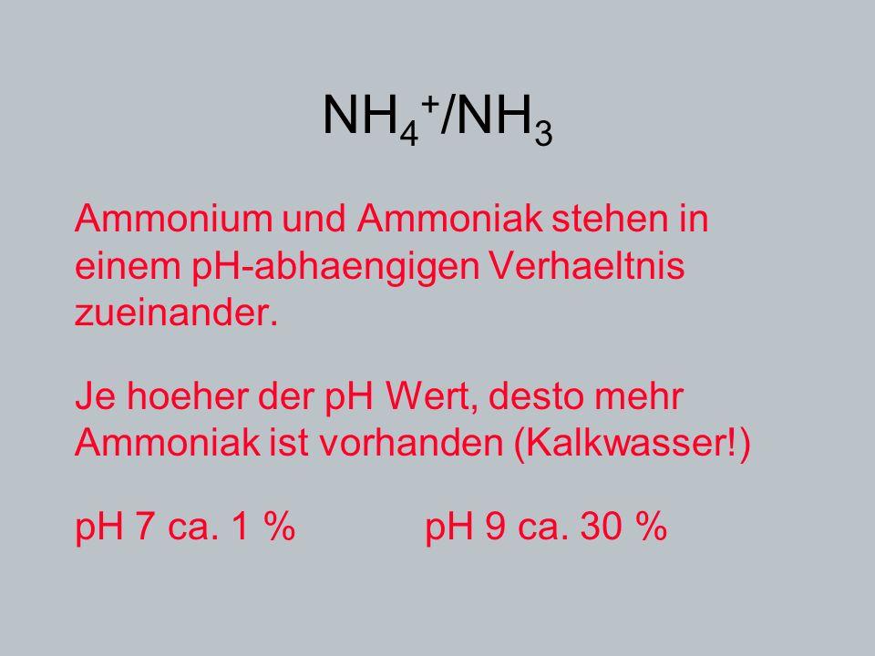 NH4+/NH3 Ammonium und Ammoniak stehen in einem pH-abhaengigen Verhaeltnis zueinander.