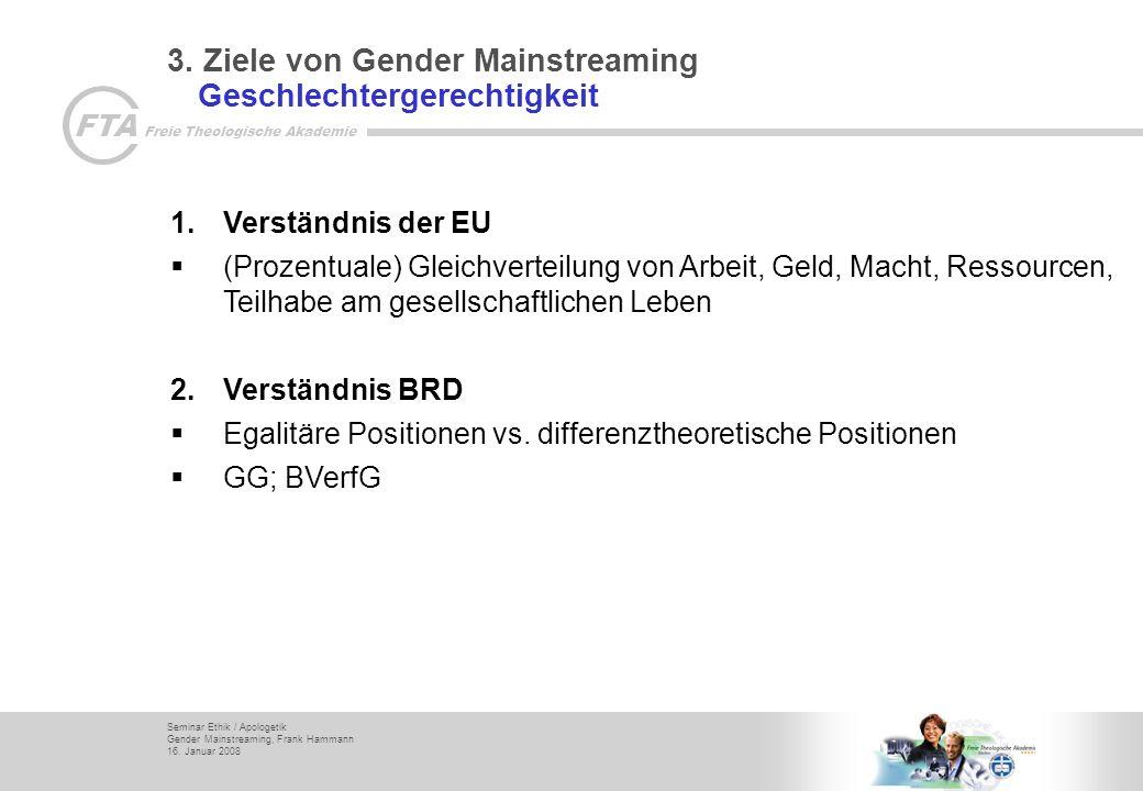 3. Ziele von Gender Mainstreaming Geschlechtergerechtigkeit