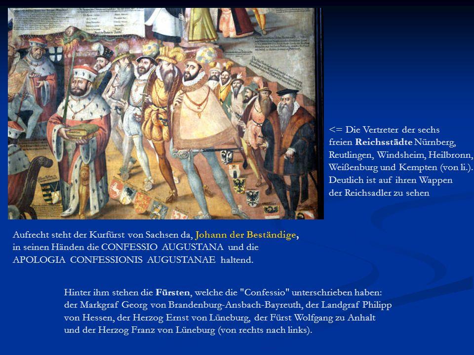 <= Die Vertreter der sechs freien Reichsstädte Nürnberg, Reutlingen, Windsheim, Heilbronn, Weißenburg und Kempten (von li.). Deutlich ist auf ihren Wappen der Reichsadler zu sehen