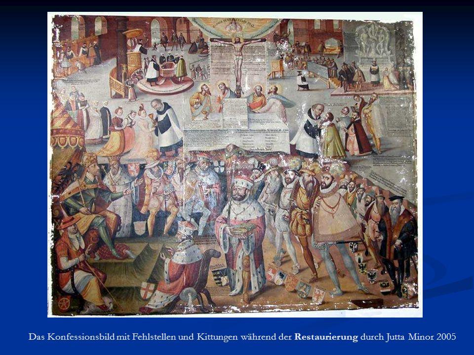 Das Konfessionsbild mit Fehlstellen und Kittungen während der Restaurierung durch Jutta Minor 2005