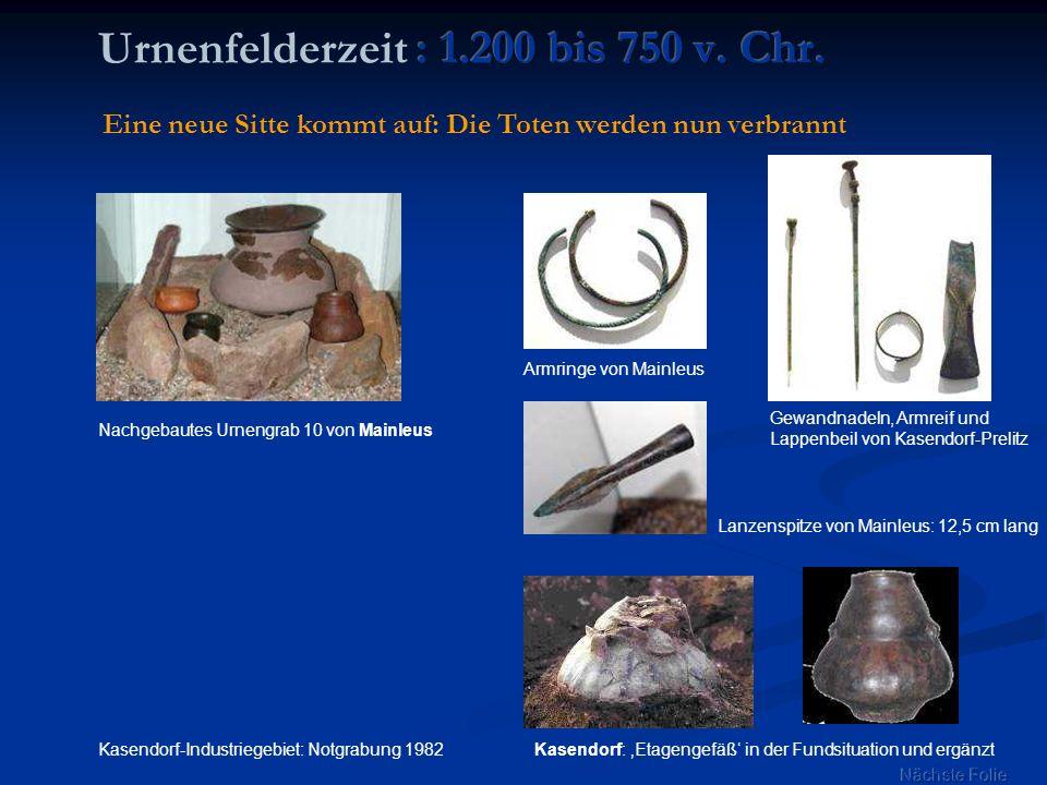 Urnenfelderzeit : 1.200 bis 750 v. Chr.