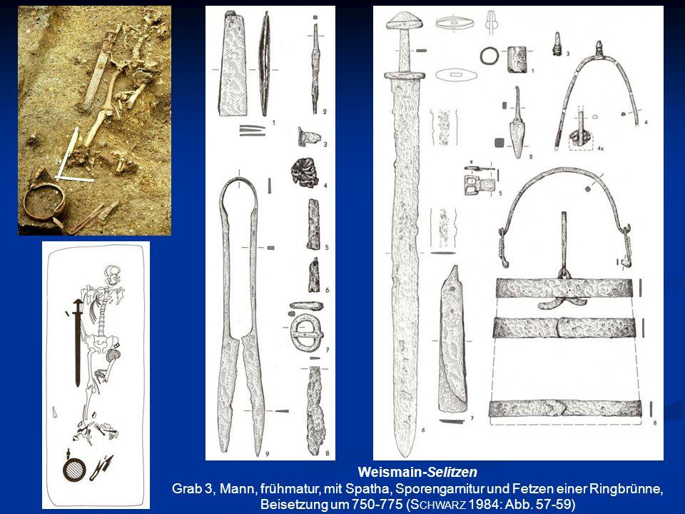 Weismain-SelitzenGrab 3, Mann, frühmatur, mit Spatha, Sporengarnitur und Fetzen einer Ringbrünne, Beisetzung um 750-775 (Schwarz 1984: Abb.