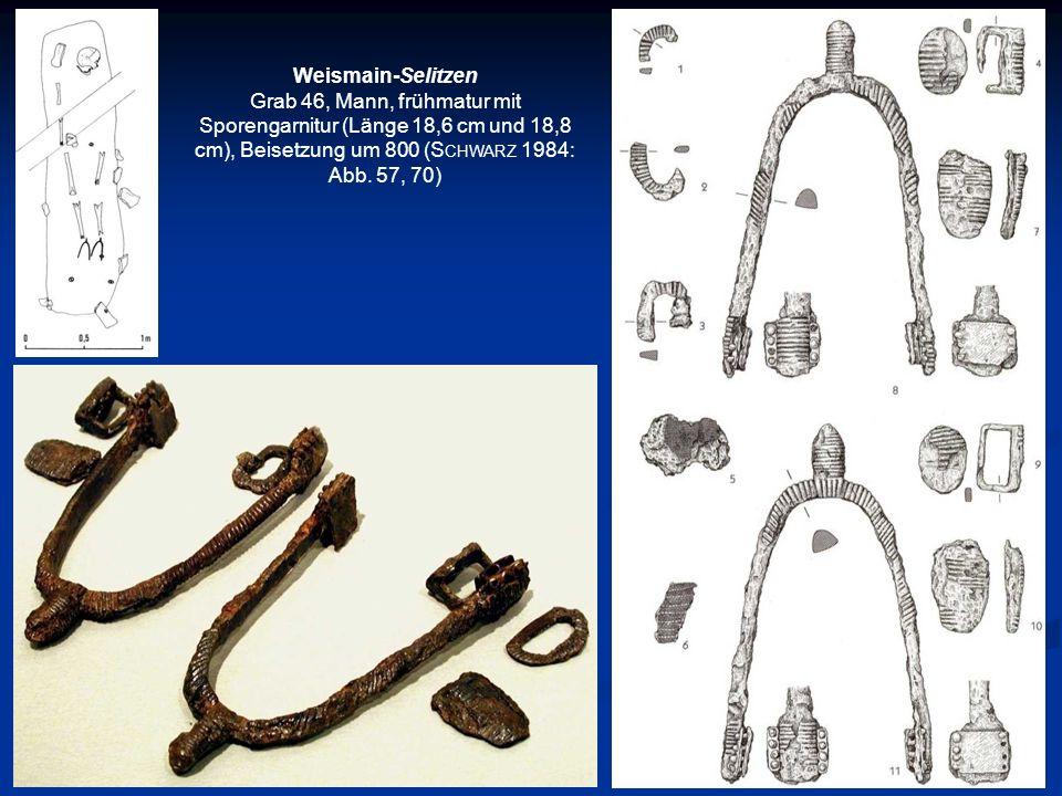 Weismain-Selitzen Grab 46, Mann, frühmatur mit Sporengarnitur (Länge 18,6 cm und 18,8 cm), Beisetzung um 800 (Schwarz 1984: Abb.