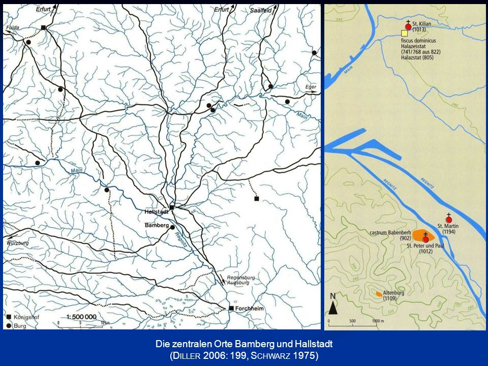 Die zentralen Orte Bamberg und Hallstadt