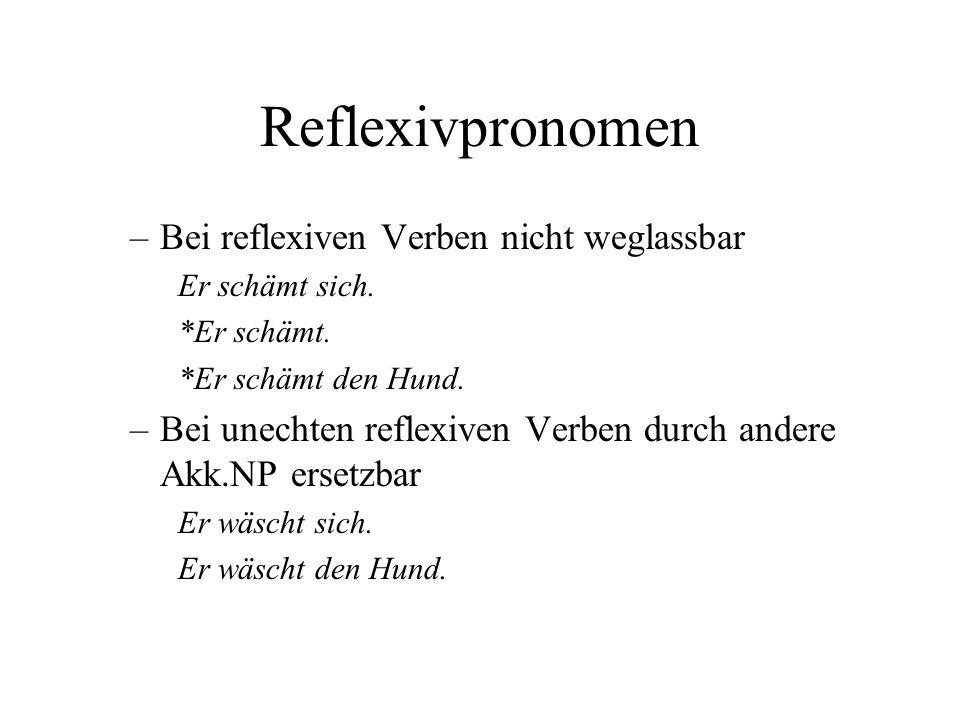 Reflexivpronomen Bei reflexiven Verben nicht weglassbar