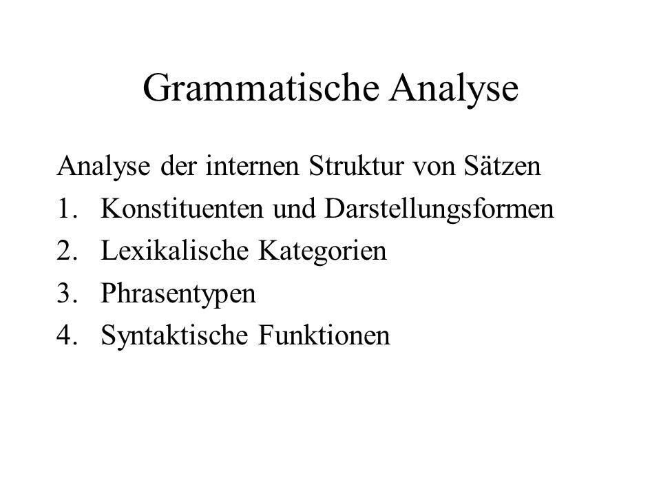 Grammatische Analyse Analyse der internen Struktur von Sätzen