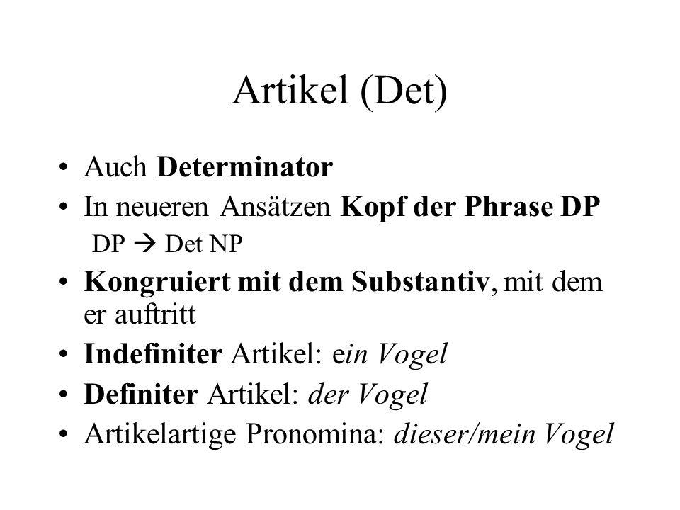 Artikel (Det) Auch Determinator In neueren Ansätzen Kopf der Phrase DP