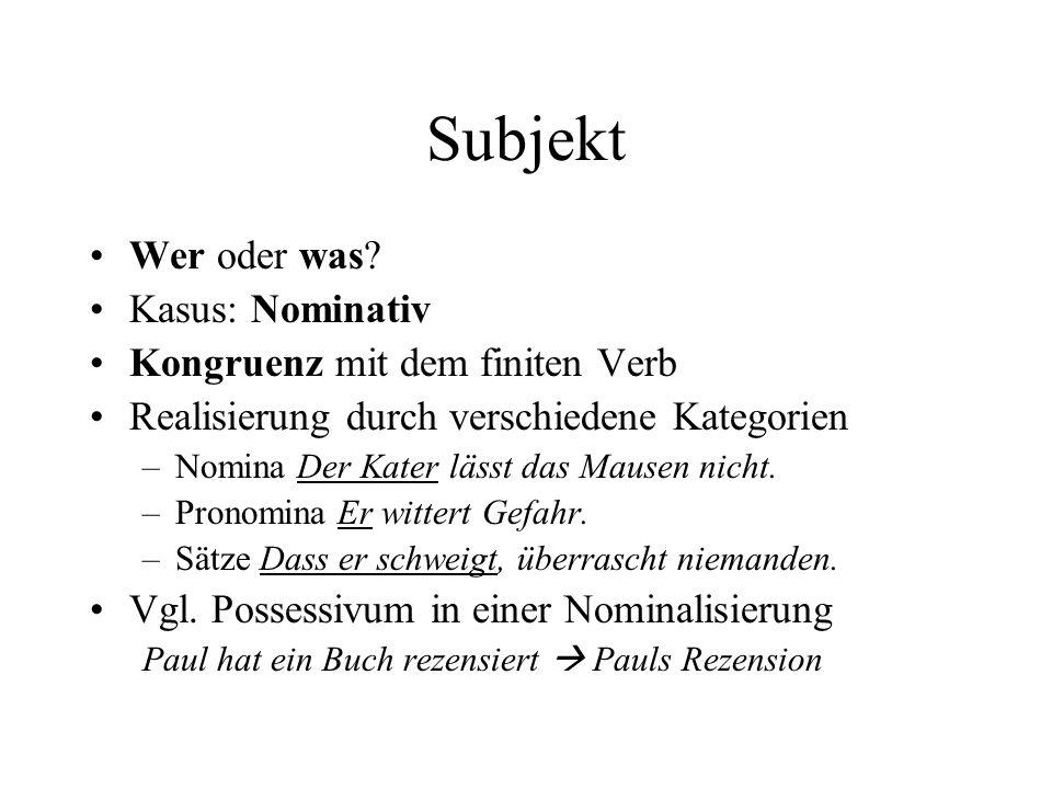 Subjekt Wer oder was Kasus: Nominativ Kongruenz mit dem finiten Verb