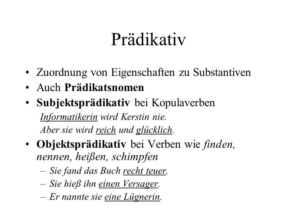 Prädikativ Zuordnung von Eigenschaften zu Substantiven
