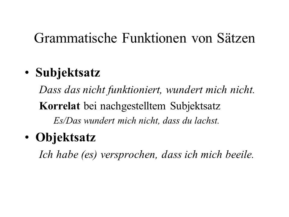 Grammatische Funktionen von Sätzen