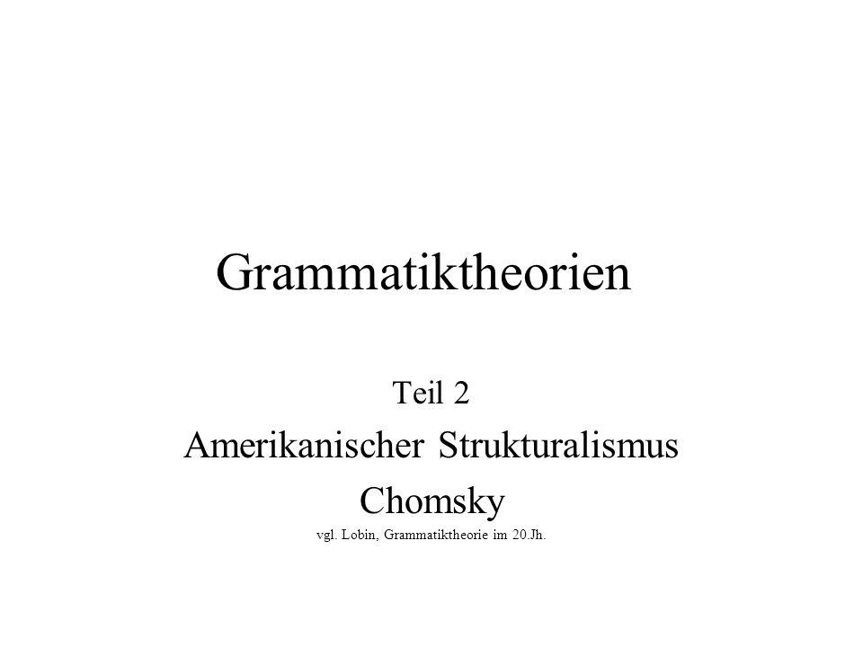 Grammatiktheorien Amerikanischer Strukturalismus Chomsky Teil 2