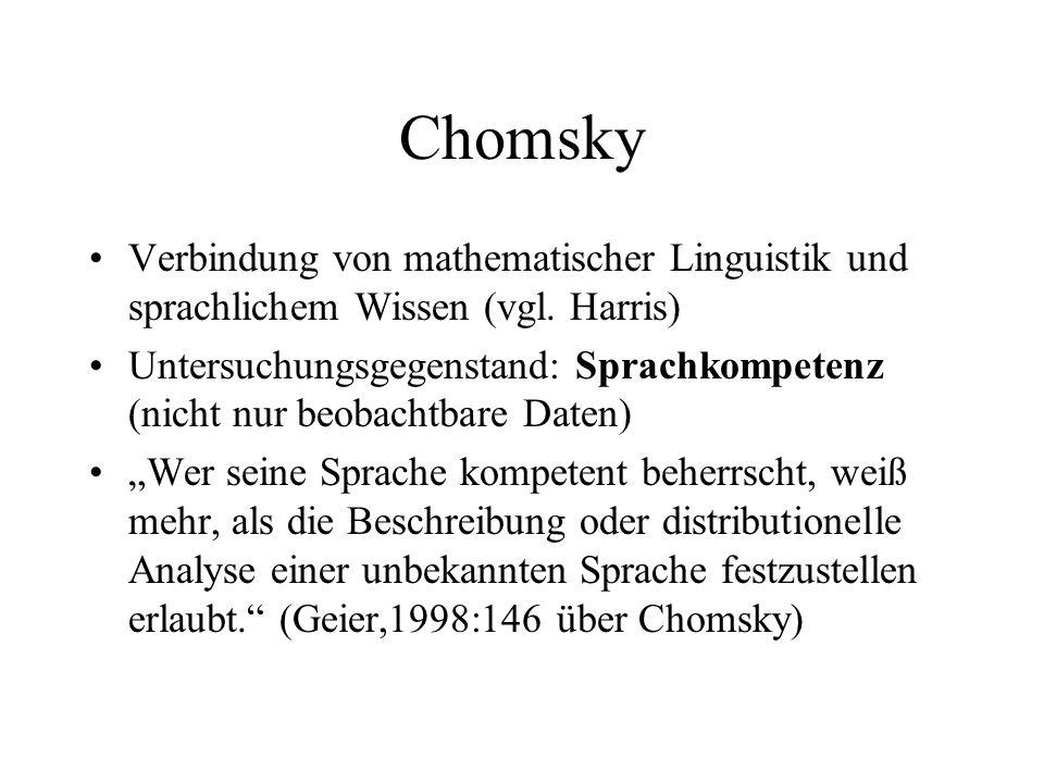 Chomsky Verbindung von mathematischer Linguistik und sprachlichem Wissen (vgl. Harris)