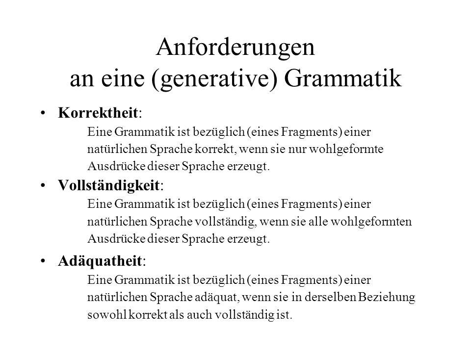 Anforderungen an eine (generative) Grammatik