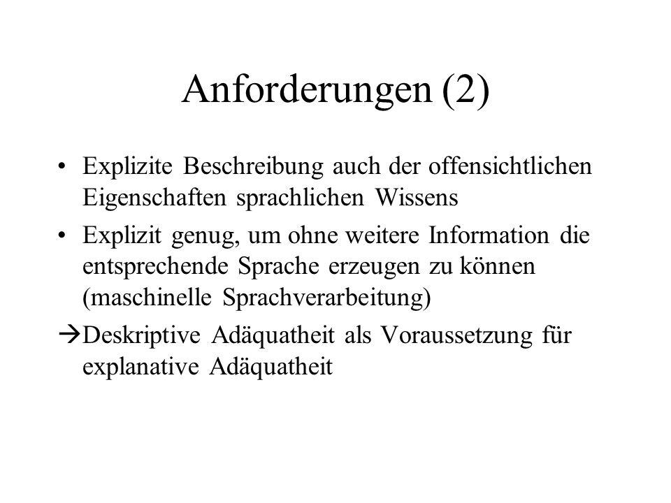 Anforderungen (2) Explizite Beschreibung auch der offensichtlichen Eigenschaften sprachlichen Wissens.
